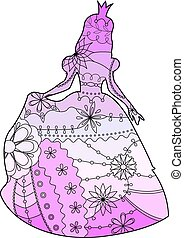 Princess with transition colors vector