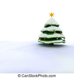3d Christmas tree with snow