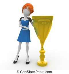 3d girl with golden cup