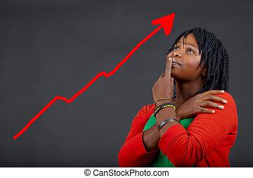 africaine, femme, personnel, croissance