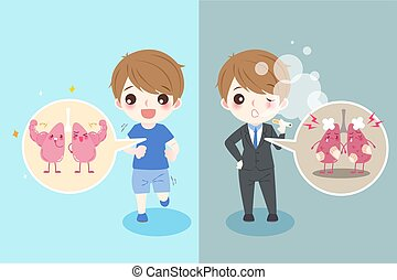 man with lung health - cute cartoon man with lung health...