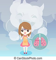 woman with lung concept - cute cartoon woman with lung...