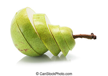 Slices pf Pear on White Background