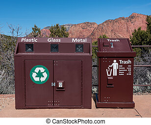 Metal Recycle Bin and Trash Can