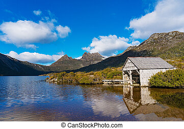 Beautiful landscape Cradle mountain and boat shed on lake...