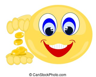 Emoji smiling with gold coins