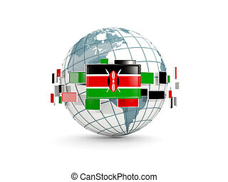 Globe with flag of kenya isolated on white