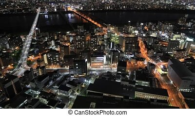 Osaka skyline timelapse - Aerial view time lapse of Osaka...