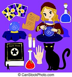 Fortune Teller Vector Collection - fortune teller character...