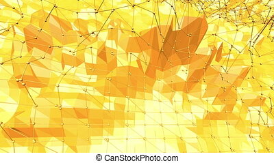 Yellow low poly background pulsating. Abstract low poly...