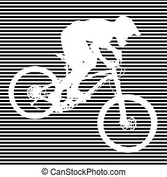 Silhouette of cyclist on striped background - White...