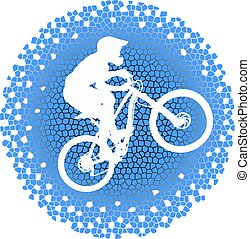 White silhouette of a cyclist on blue background - White...
