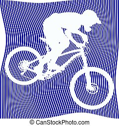 Striped biker silhouette on white background - Silhouette of...