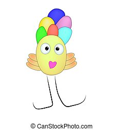 Cartoon monster ducky - Chick cute smiling monster