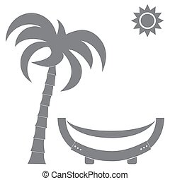 Vector illustration of a hammock under a palm tree and sun.