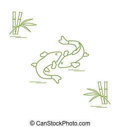 Stylized icon of two carp koi and bamboo. Travel and...