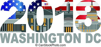 2018 Washington DC USA Flag Outline Illustration