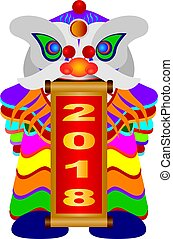 Chinese New Year Lion Dance with 2018 Scroll Illustration -...