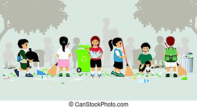 Kids are sweeping garbage in the garden.