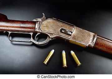 Antique Lever Action Rifle. - Antique 1876 Cowboy lever...