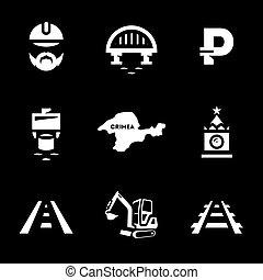 Vector Set of Bridge building Icons. - Builder, fairway,...