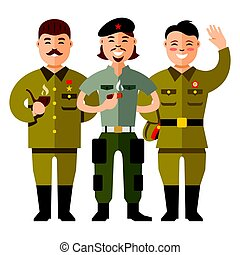 Vector Communist Group. Flat style colorful Cartoon...