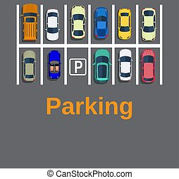 Top view of a city parking lot with a set of different cars....