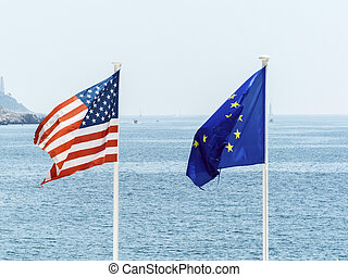 eu and us flags - flags of the european union and the united...