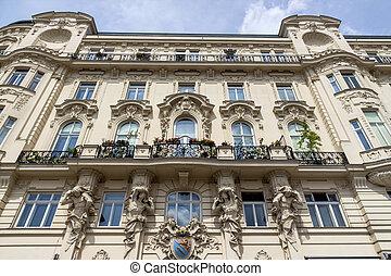 austria, vienna, art nouveau houses on naschmarkt - austria...