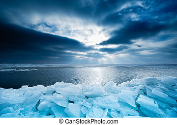 shelf ice and sunset in Marken a small village near...
