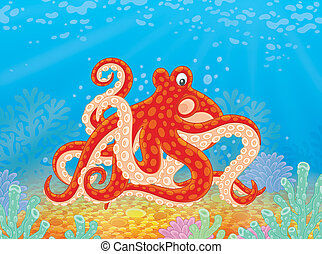 Red spotted octopus - Illustration of a big marine mollusk...