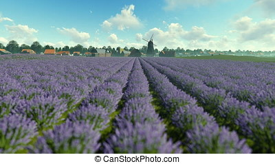 French lavender village with old windmill against blue sky,...