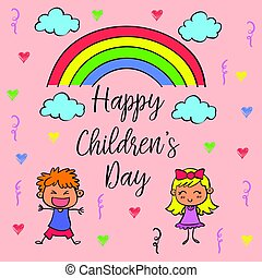 Children day theme with rainbow