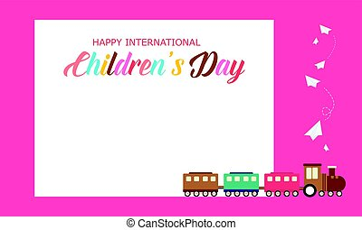 Background children day cute style with train
