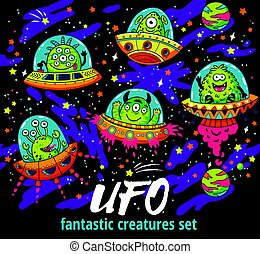 Fantastic creatures set in the galaxy. Funny monsters background