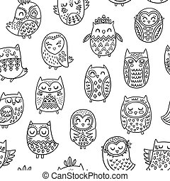 Ink cartoon owls seamless pattern. Coloring book page