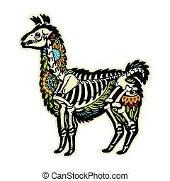 Cartoon alpaca llama mexican sugar skull. Vector...