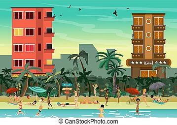 Tropical beach in the resort town with hotels. Women in a...