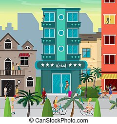 Street resort town in the evening. People walk, come back from the beach, ride bicycles. Flat vector cartoon illustration