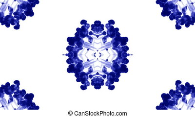Abstract background of ink or smoke flows is kaleidoscope or Rorschach inkblot test14. Isolated on white in slow motion. Blue Ink open in water. For alpha channel use luma matte as alpha mask