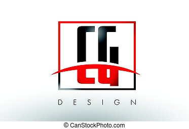 CG C G Logo Letters with Red and Black Colors and Swoosh....