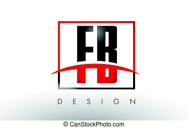 FB F B Logo Letters with Red and Black Colors and Swoosh....
