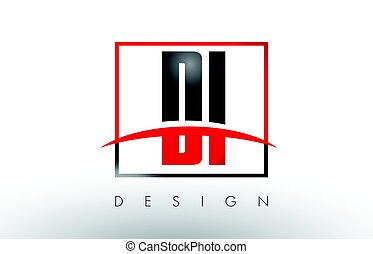 DI D I Logo Letters with Red and Black Colors and Swoosh....