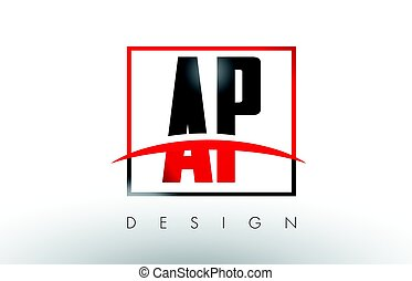 AP A P Logo Letters with Red and Black Colors and Swoosh....