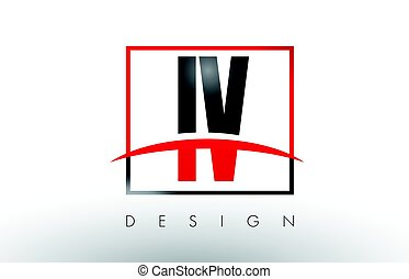 IV I V Logo Letters with Red and Black Colors and Swoosh....