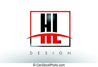 HL H L Logo Letters with Red and Black Colors and Swoosh....
