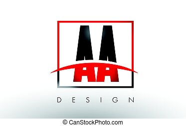 AA A Logo Letters with Red and Black Colors and Swoosh....