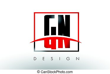 GN G N Logo Letters with Red and Black Colors and Swoosh....