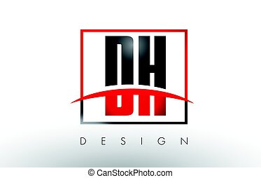 DH D H Logo Letters with Red and Black Colors and Swoosh....