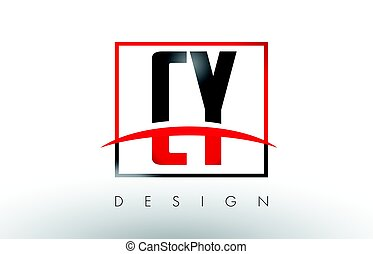 CY C Y Logo Letters with Red and Black Colors and Swoosh....
